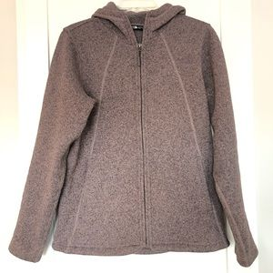 The North Face Zip Hooded Knit Sweater Fleece | M